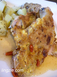 Chicken Piccata with Boxthorne Fruit and Plum Sauce