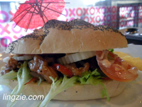 Fresh Submarine Bread with Stir Fried Chicken which came with si